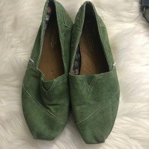 TOMS Women's Corduroy Green Canvas Shoes